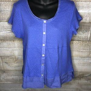 Soft Surroundings blue ruffle hem t shirt